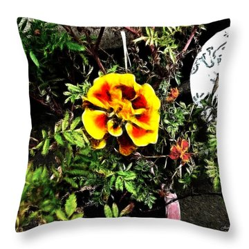 Throw Pillow featuring the photograph Orange And Yellow Flower by Joan  Minchak