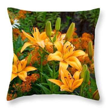 Throw Pillow featuring the photograph Orange Asiatic Lilies And Butterfly Weed by Kathryn Meyer