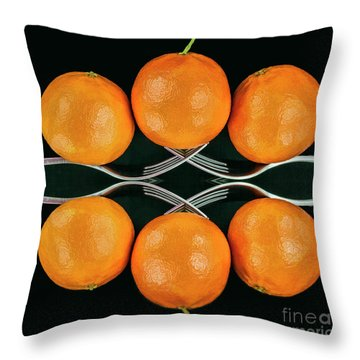 Orange Balance Throw Pillow by Shirley Mangini