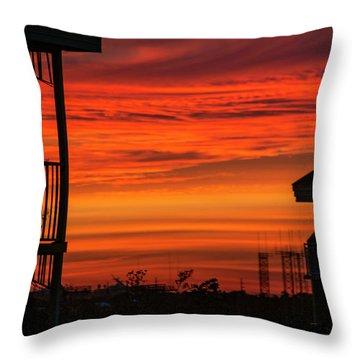 Throw Pillow featuring the photograph Orange Balcony Sunset by Bob Slitzan