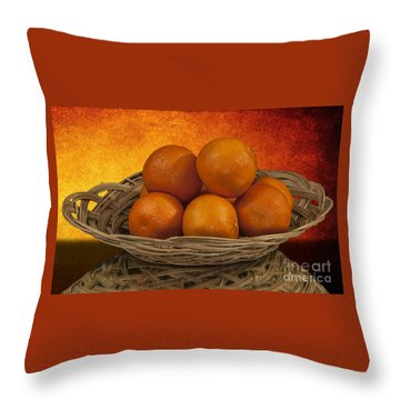 Orange Basket Throw Pillow
