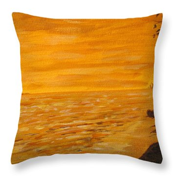 Throw Pillow featuring the painting Orange Beach by Ian  MacDonald