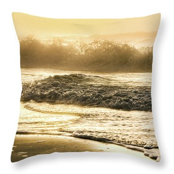 Throw Pillow featuring the photograph Orange Beach Sunrise With Wave by John McGraw