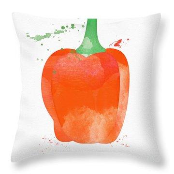 Orange Bell Pepper  Throw Pillow