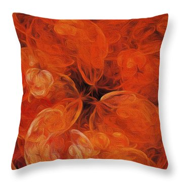 Throw Pillow featuring the digital art Orange Blossom Abstract by Andee Design