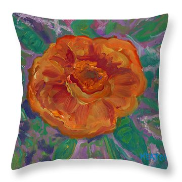 Throw Pillow featuring the painting Orange Blossom by John Keaton