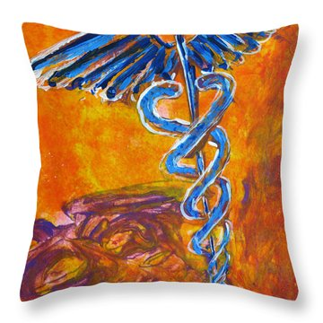 Throw Pillow featuring the painting Orange Blue Purple Medical Caduceus Thats Atmospheric And Rising With Mystery by M Zimmerman