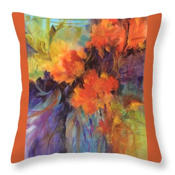 Orange Bouquet Throw Pillow