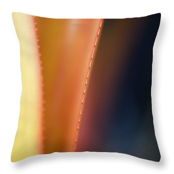 Orange Bromeliad Macro Throw Pillow