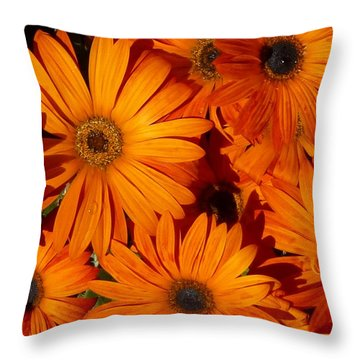 Orange Burst Throw Pillow