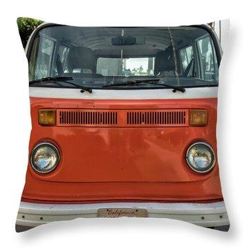 Orange Bus Throw Pillow