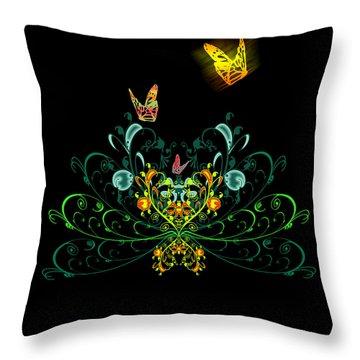 Orange Butterflies Throw Pillow by Svetlana Sewell