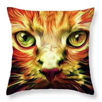 Orange Cat Art - Feed Me Throw Pillow