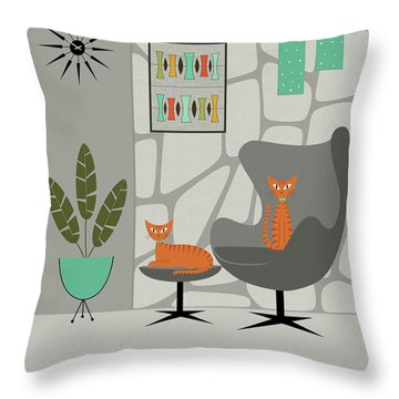 Orange Cat In Gray Stone Wall Throw Pillow