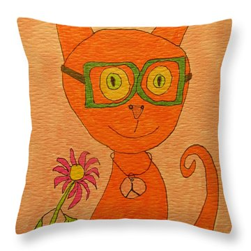 Orange Cat With Glasses Throw Pillow