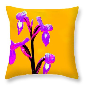 Orange Champagne Orchid Throw Pillow