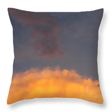 Orange Cloud With Grey Puffs Throw Pillow