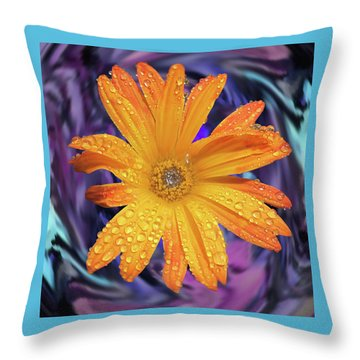 Orange Daisy Swirl Throw Pillow