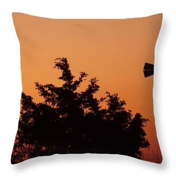 Orange Dawn With Windmill Throw Pillow