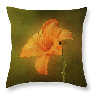Orange Daylily Throw Pillow