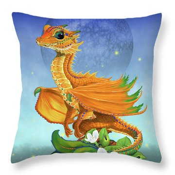 Throw Pillow featuring the digital art Orange Dragon by Stanley Morrison