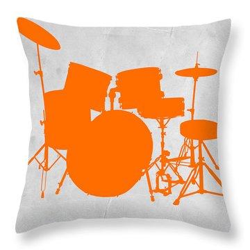 Orange Drum Set Throw Pillow by Naxart Studio