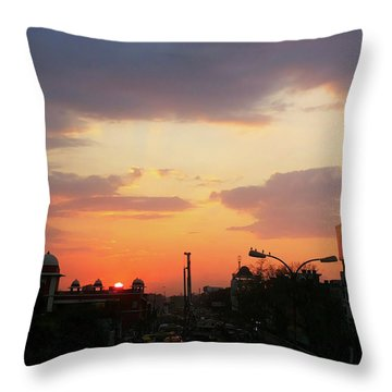 Orange Evening Sky Throw Pillow
