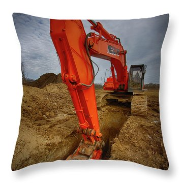 Orange Excavator Throw Pillow