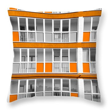 Orange Exterior Decoration Details Of Modern Flats Throw Pillow