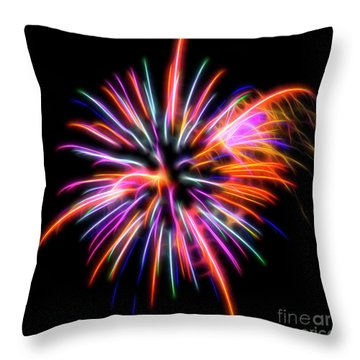 Throw Pillow featuring the photograph Orange Fireworks by Yulia Kazansky