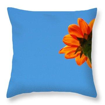 Orange Flower On Blue Sky Throw Pillow