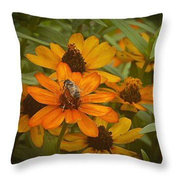 Orange Flowers And Bee Throw Pillow