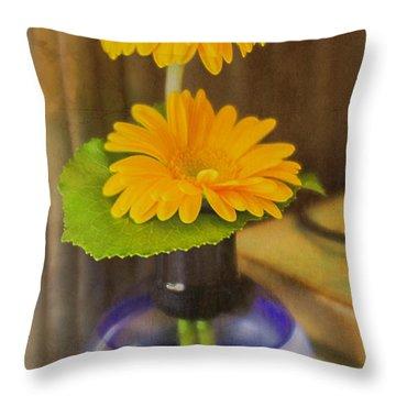 Orange Flowers Blue Vase Throw Pillow