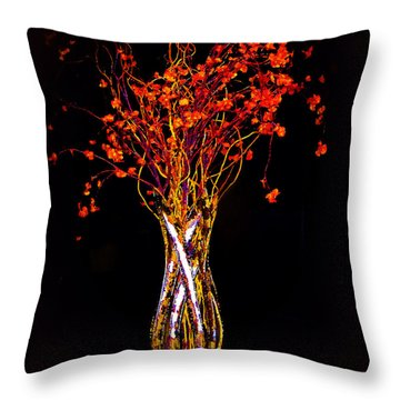 Orange Flowers In Vase Throw Pillow