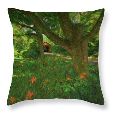 Throw Pillow featuring the photograph Orange Flowers by Lewis Mann
