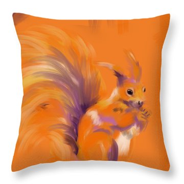 Orange Forest Squirrel Throw Pillow