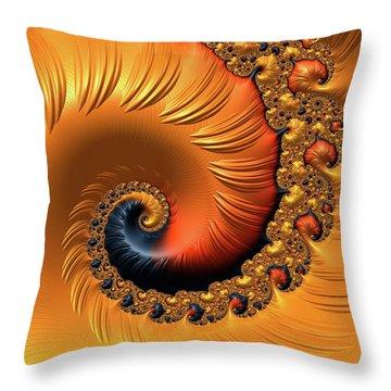Throw Pillow featuring the digital art Orange Fractal Spiral Warm Tones by Matthias Hauser