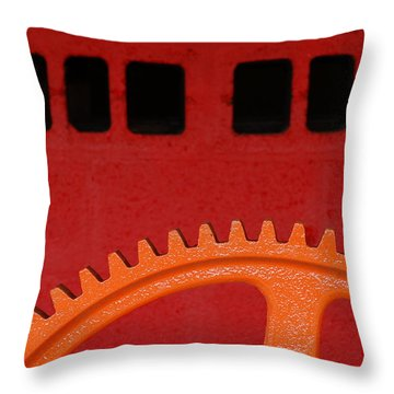 Orange Gear 1 Throw Pillow