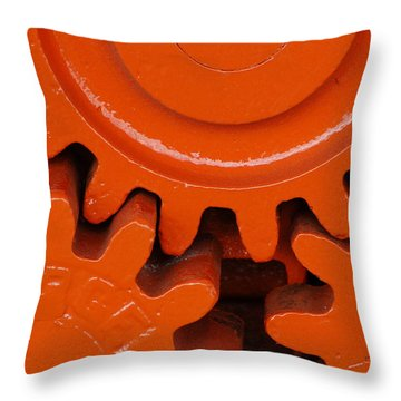 Orange Gear 2 Throw Pillow