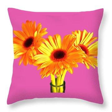 Orange Gerbera's Throw Pillow by Scott Carruthers
