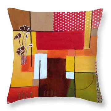 Orange Green, Abstract  Throw Pillow by Patricia Cleasby
