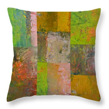 Throw Pillow featuring the painting Orange Green And Grey by Michelle Calkins