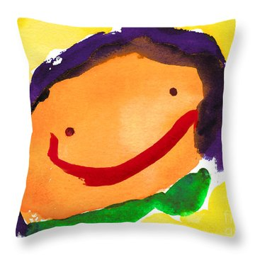 Orange Happy Face Throw Pillow