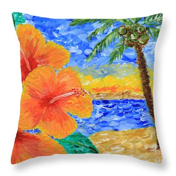 Orange Hibiscus Coconut Tree Sunrise Tropical Beach Painting Throw Pillow