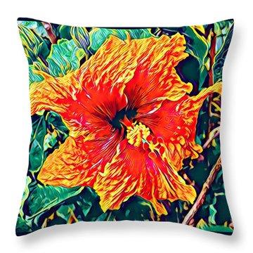 Orange Hibiscus In Crepe - Full View Throw Pillow