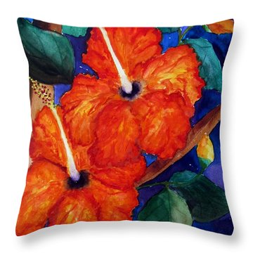 Throw Pillow featuring the painting Orange Hibiscus by Lil Taylor