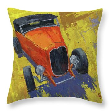Orange Hot Rod Roadster Throw Pillow