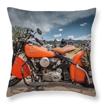 Orange Indian Motorcycle Throw Pillow