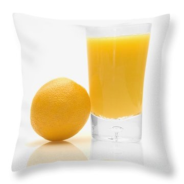 Orange Juice Throw Pillow by Darren Greenwood