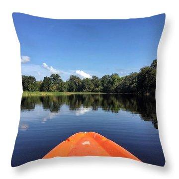 Orange Kayak  Throw Pillow